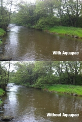 Comparison shot with and without Aquapac